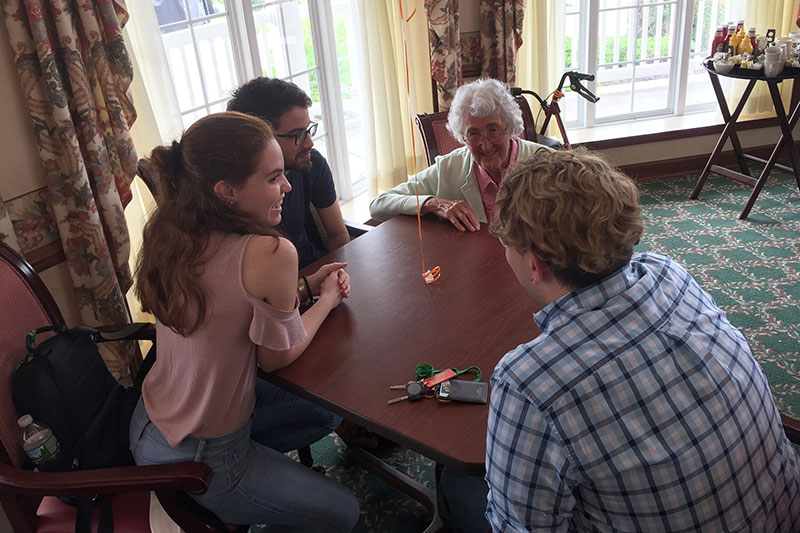 International students with senior citizens