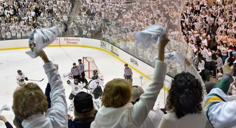 Crowd cheers at Whiteout game