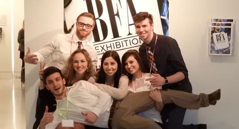 Art student pose at BFA Exhibition I