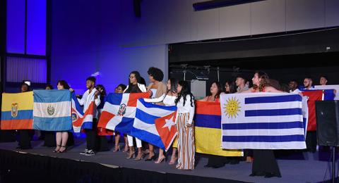 Students display flags of many nations