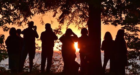 Alumni take photos of sunset over Lake Ontario