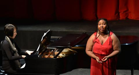Soprano Angel Tyler performs during Collage concert