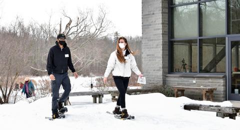 Self-guided snowshoeing was a featured activity Feb. 24 during the first Wellness Day at Rice Creek Field Station. Enjoying the outdoor experience are Matthew Broadnax, a freshman zoology major, and Nicole Rose, a junior zoology major and sustainability m