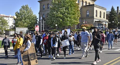 The ALANA Peace Walk on Sept. 26 began at Oswego City Hall and proceeded to Marano Campus Center after opening remarks