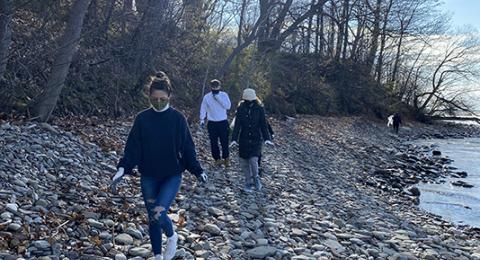 The Office of Sustainability hosted a series of Earth Week cleanups, including this April 22 pickup along the shores of Lake Ontario