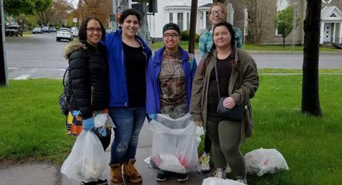 Young people clean up litter