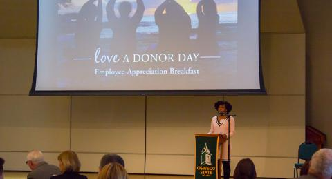 Skye Prosper thanks faculty and staff donors