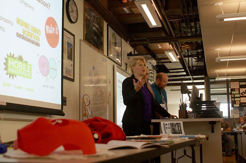 Donna Matteson talks about 3D printing as samples sit in foreground