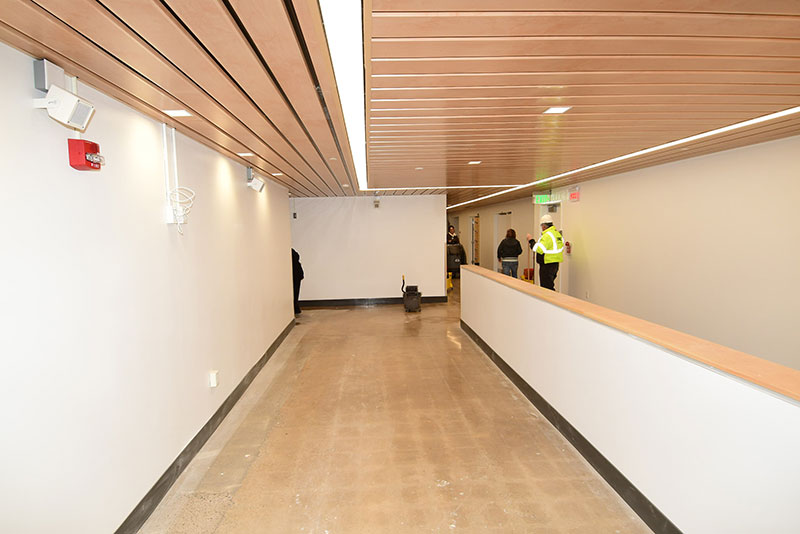 Bright renovated Tyler Hall hallway on theatre level