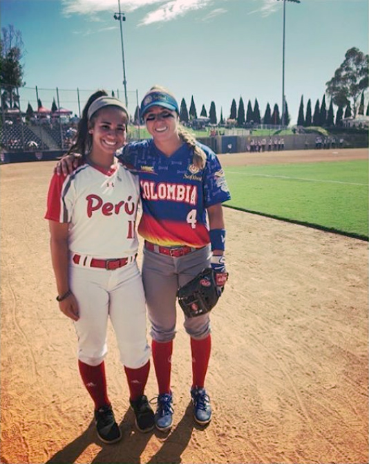 Laker junior pitcher Rebecca Vilchez and assistant coach Morgan Nandin play in world softball tournament