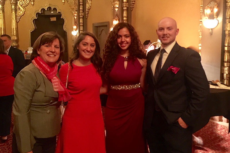 SUNY Oswego student Vinnie Reeder with Syracuse Mayor Stephanie Miner + others at Say Yes to Education Gala