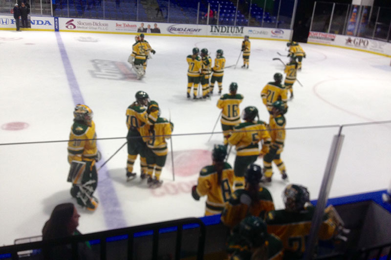 Women's hockey team at end of playoff game