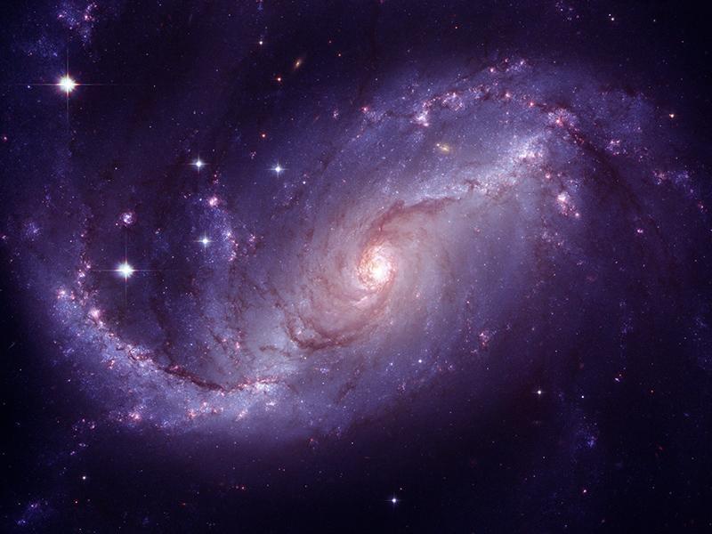 Stars in a purple nebula