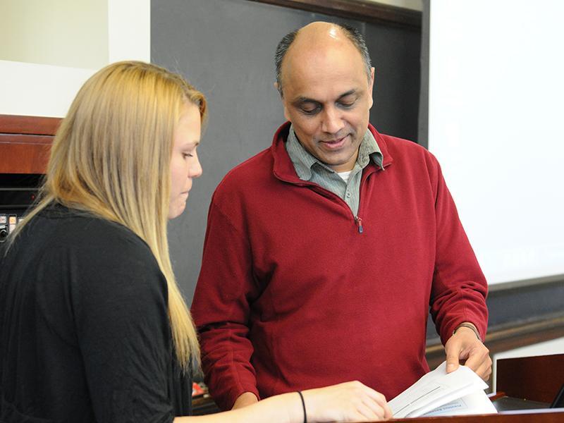 Professor Shashi Kanbur with student