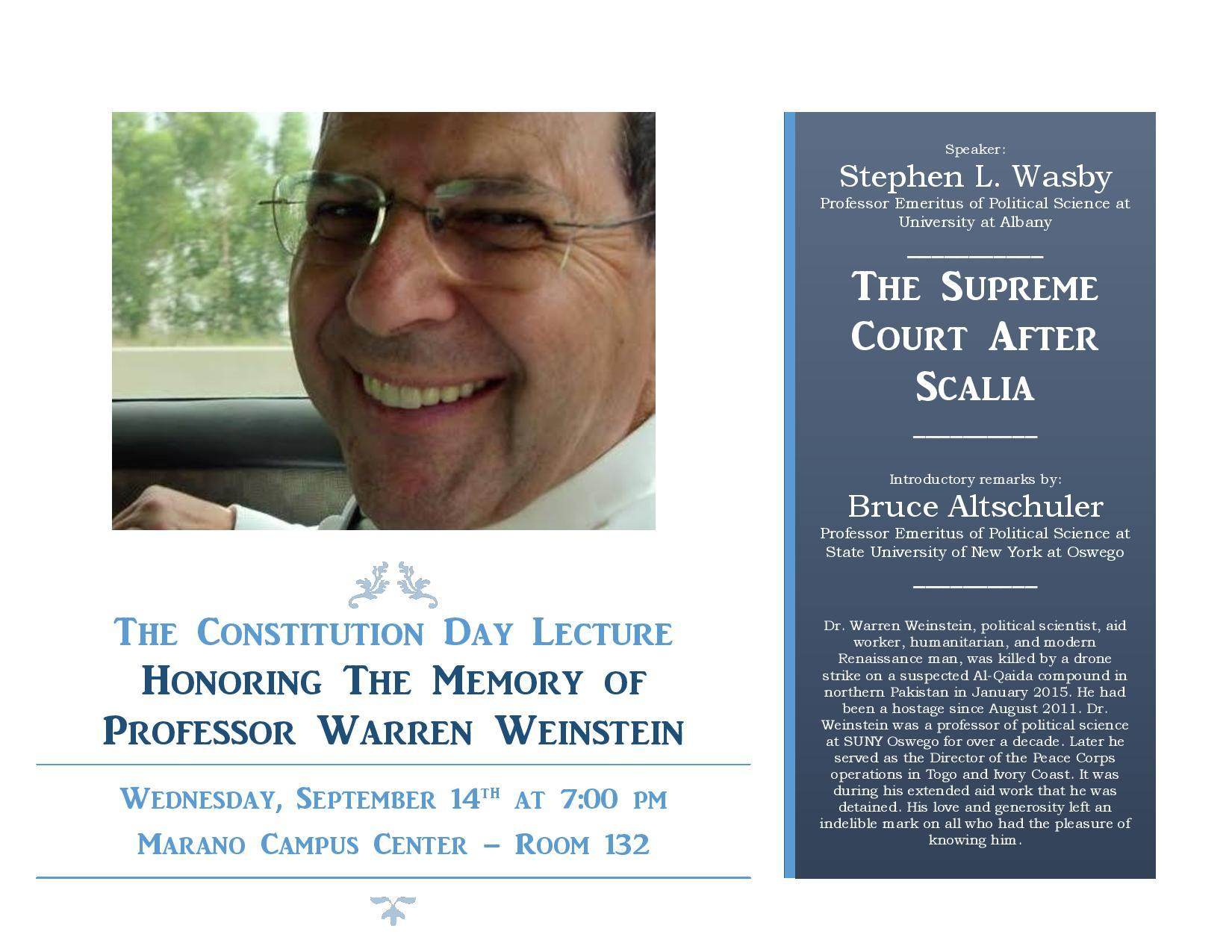 Dr. Stephen Wasby presents a Constitution Day lecture in memory of Weinstein