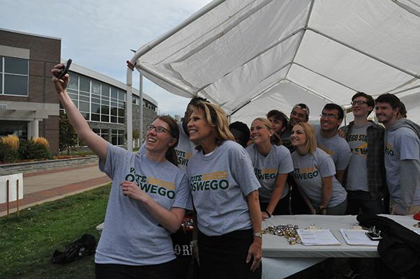 Vote Oswego selfie with Deborah Stanley