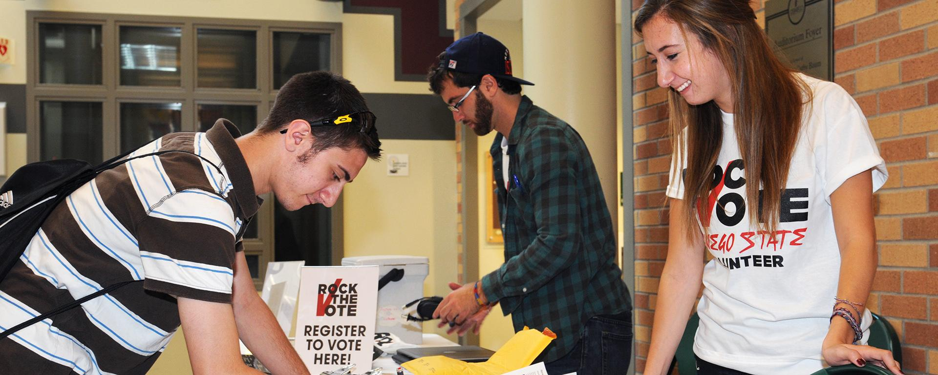Students registering to vote