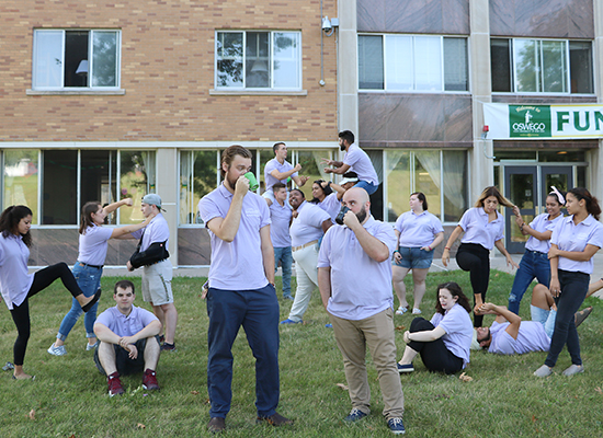 Funnelle Hall Resident Student Staff group photo acting goofy