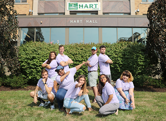 Hart Hall Resident Student Staff This group photo shows their silly side!