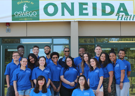 Oneida Hall Resident Student Staff group photo. We are ready to welcome you!