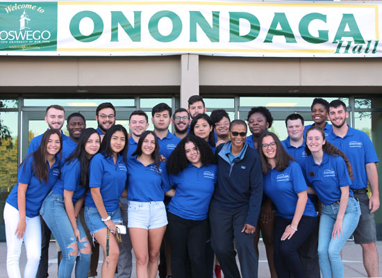 Onondaga Hall Resident Student Staff group photo. We are ready to welcome you!