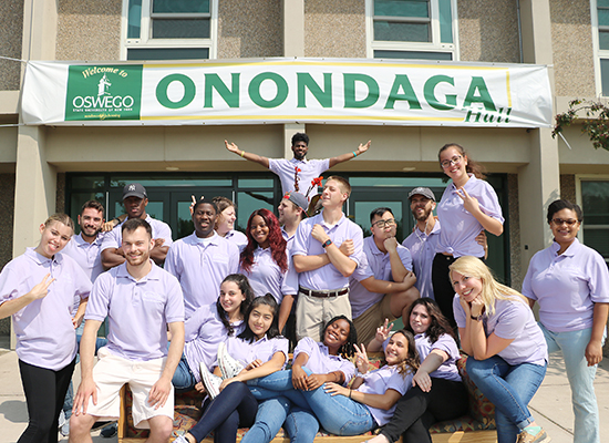 Onondaga Hall Resident Student Staff group photo. Showing our silly side...