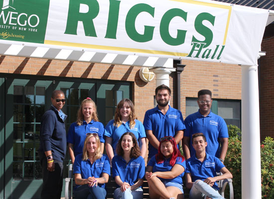 Riggs Hall Resident Student Staff group photo. We are ready to welcome you!