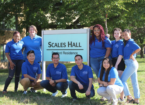 Scales Hall Resident Student Staff group photo. We are ready to welcome you!