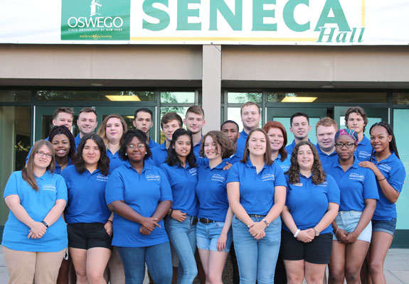 Seneca Hall Resident Student Staff group photo. We are ready to welcome you!