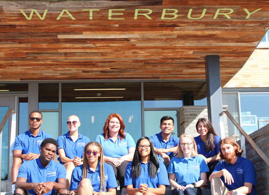 Waterbury Hall Resident Student Staff group photo. We are ready to welcome you!