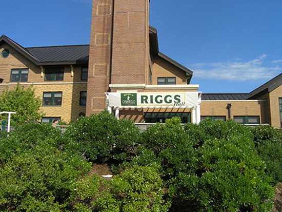 Summer scene of Riggs Hall main entrance.