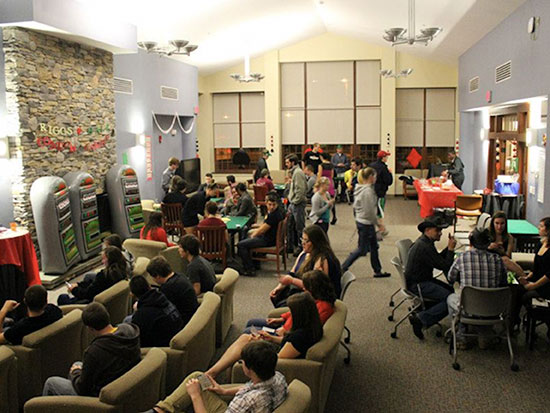 Casino night in Riggs Hall main lounge.