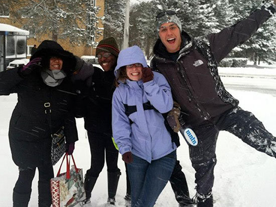 Fun in the snow at Riggs Hall.