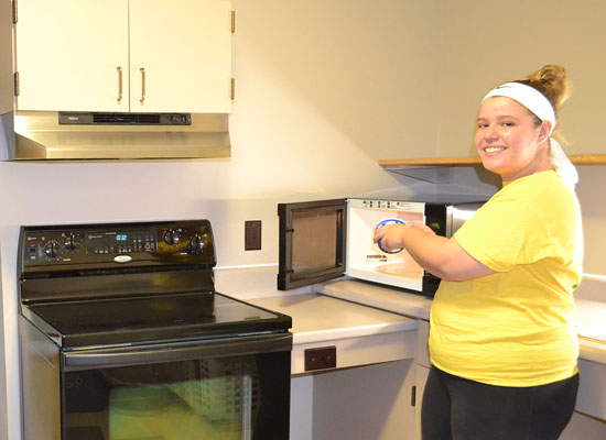 A full kitchen is located on every floor of Johnson Hall. Cookware can be signed out at the front desk.