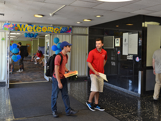 Funnelle Hall lobby and Red Carpet Crewmember Welcomes new students