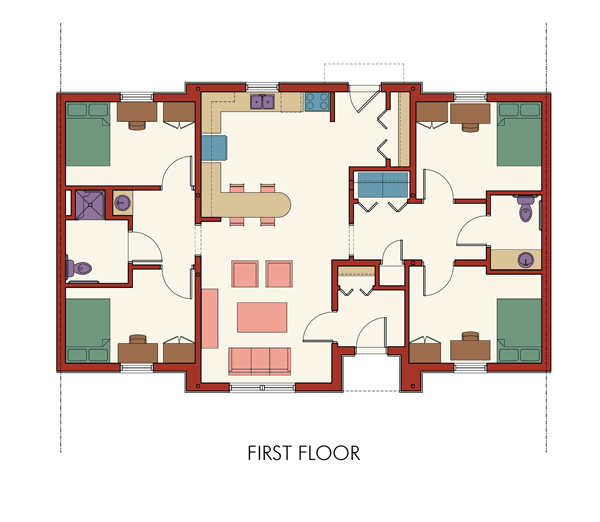 artist's rendering of the first floor with kitchen and living room common area in the center. Two bedrooms flank the common area on both sides with a full bath.
