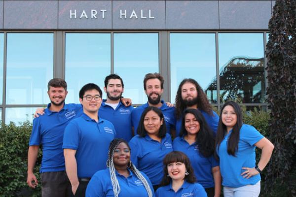 Hart Hall Resident Student Staff group photo is ready to welcome you!