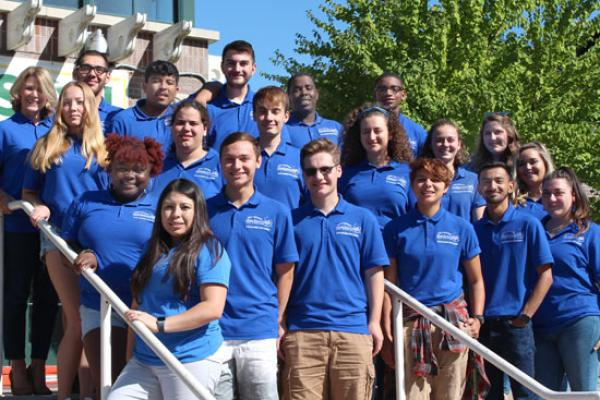 Johnson Hall Resident Student Staff group photo. We are ready to welcome you!