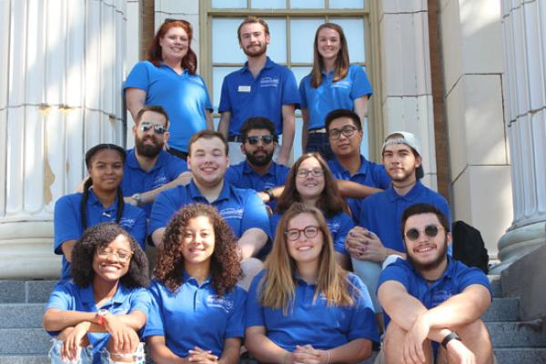 Mackin Complex (Moreland and Lonis Halls) and Sheldon Hall Resident Student Staff group photo. We are ready to welcome you!