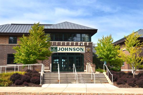 Johnson Hall exterior on a sunny fall day.
