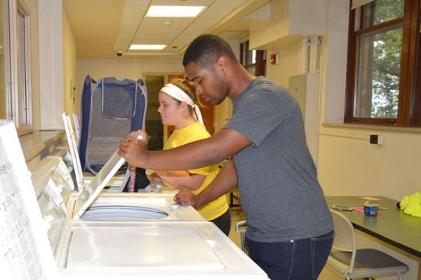 Johnson residents do their laundry in a clean and spacious facility located in the basement of Johnson Hall.