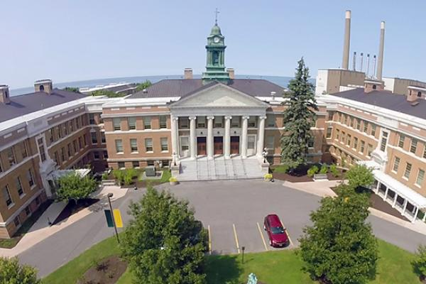 Sheldon Hall- aerial view with the lake in the background.