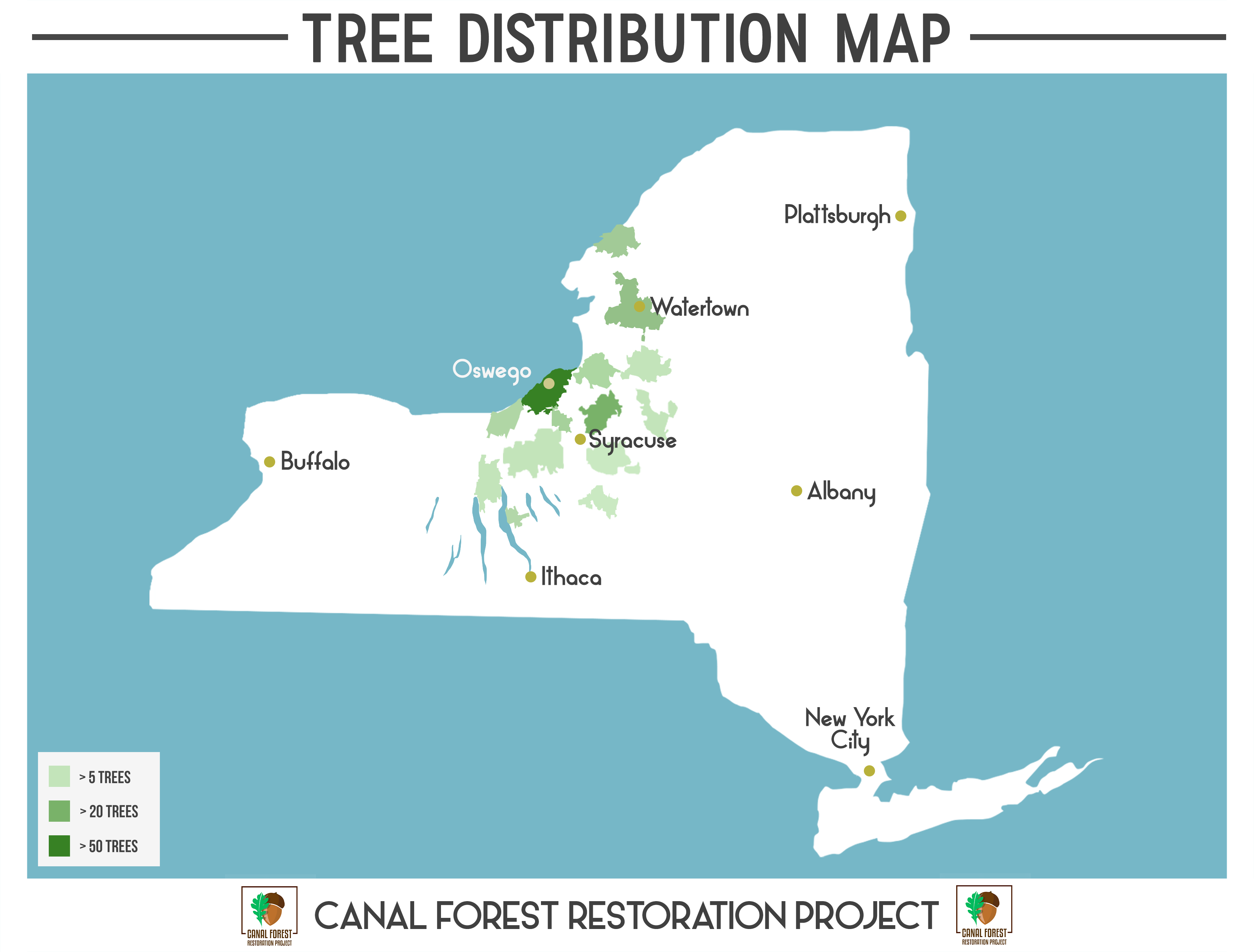 Map of New York State, showing zip codes colored by number of trees planted. Most in central and north-western New York.