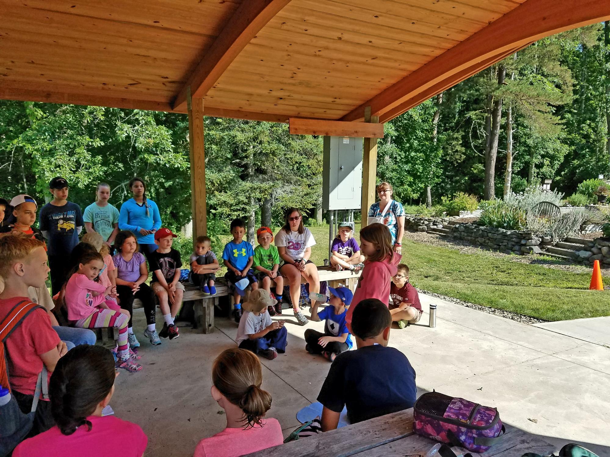Children in pavilion