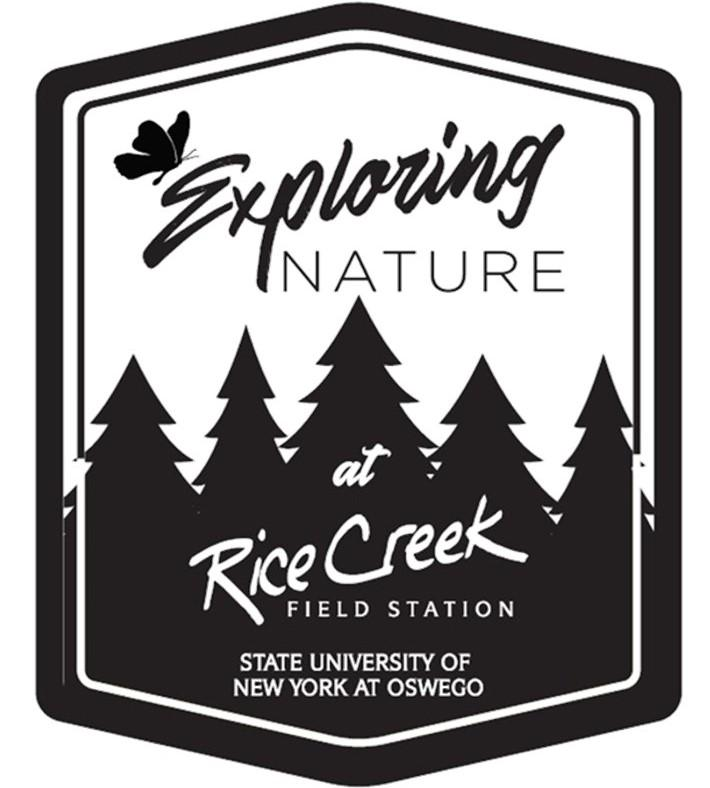 """Exploring nature logo, in black and white with a butterfly, pine trees, and the words """"Rice Creek Field Station"""" and """"State University of New York at Oswego"""""""