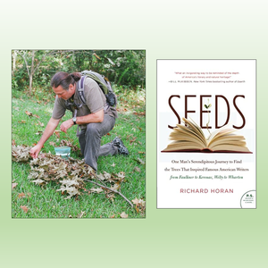 Richard Horan crouching by a fallen branch with acorns, plus book cover