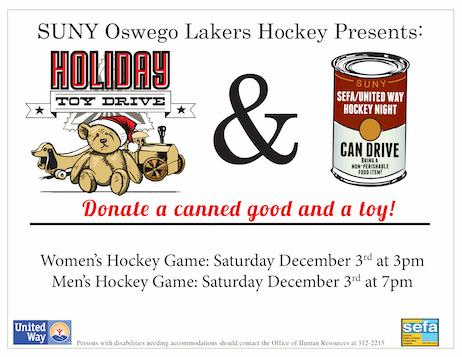 SEFA Food and Toy Drive at the Hockey Games 2016