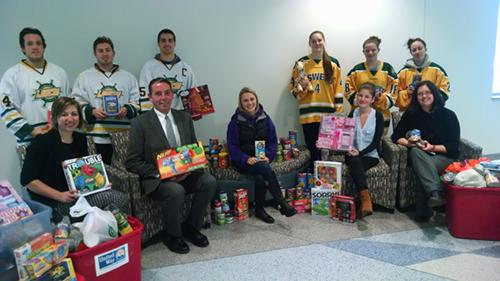 Picture of the Food and Toy Donations made at the December 4th Hockey games.