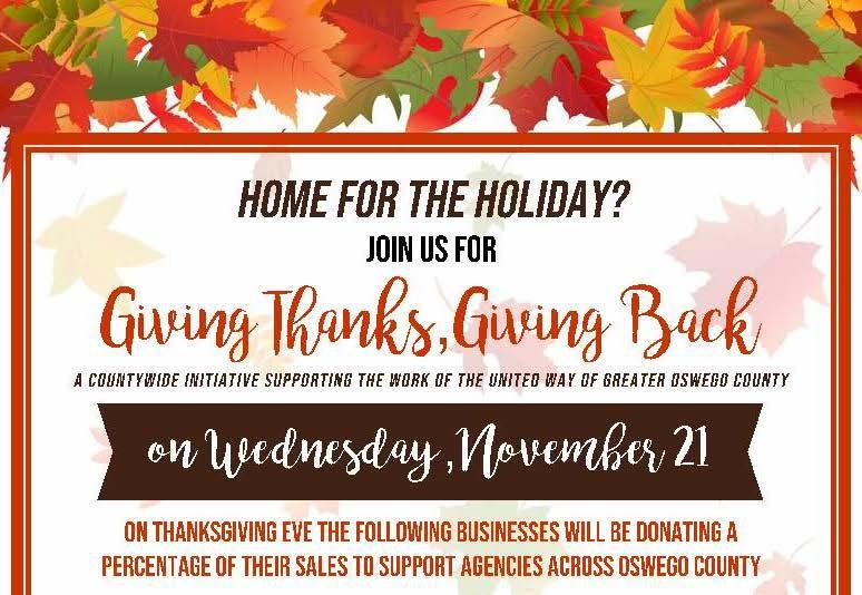 Giving Thanks, Giving Back - Wed. Nov. 21st - Multiple Oswego County Locations!