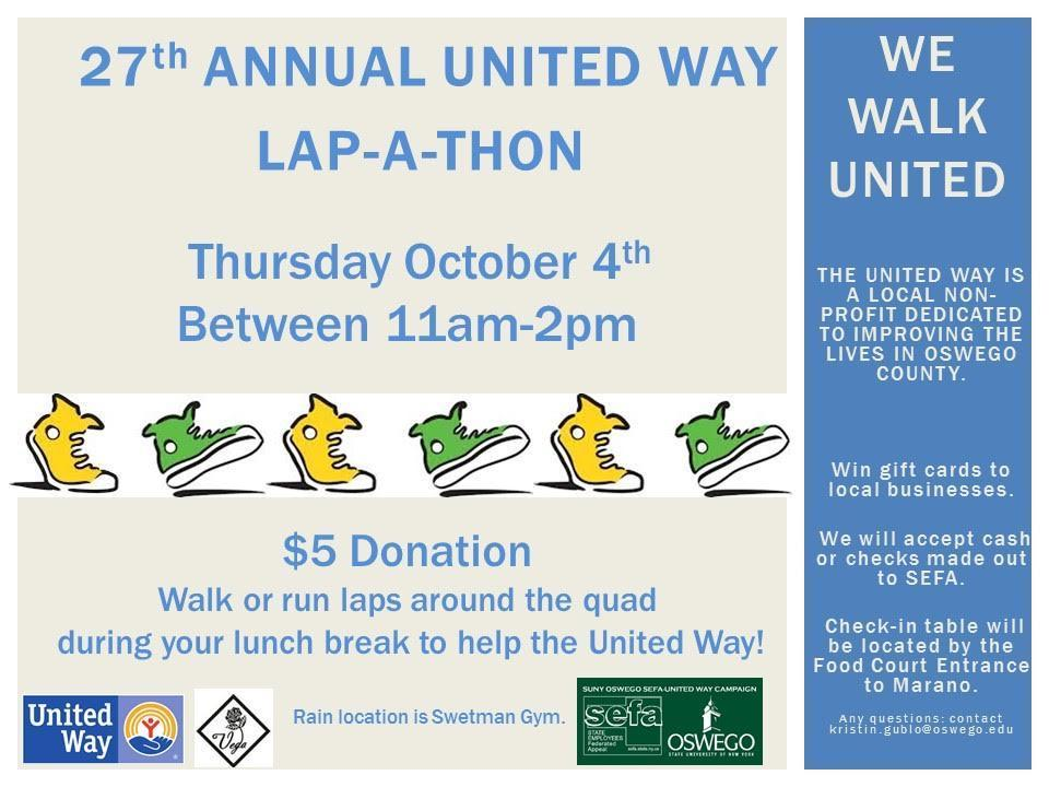 United Way Lap-A-Thon - Thurs. Oct. 4th from 11am-2pm